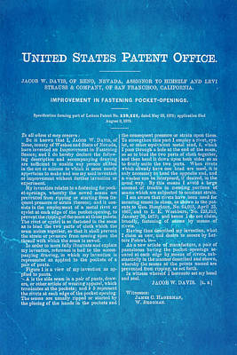 Levi Strauss Jeans Patent Art 1872 Blueprint Poster by Ian Monk