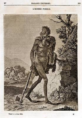 Lhomme Fossile, Cave Man, 1838 Poster by Paul D. Stewart
