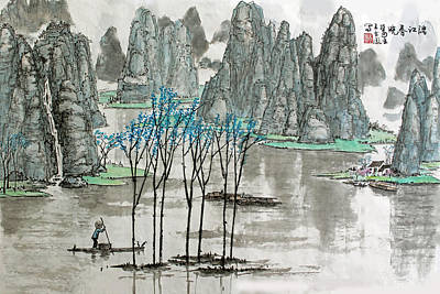 Poster featuring the photograph Li River In Spring by Yufeng Wang