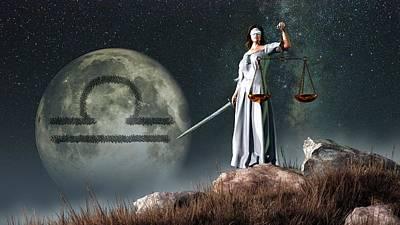 Libra Zodiac Symbol Poster by Daniel Eskridge