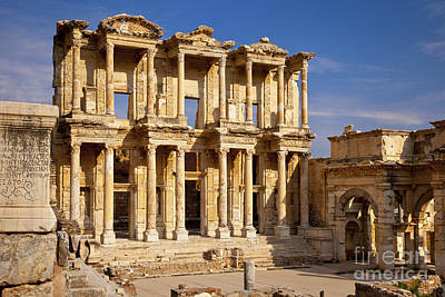 Library At Ephesus Poster