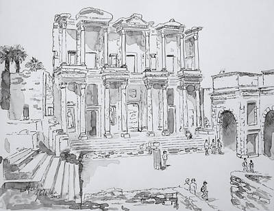 Poster featuring the painting Library At Ephesus by Marilyn Zalatan