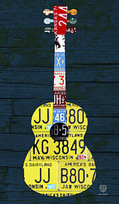 License Plate Guitar Edition 2 Vintage Recycled Metal Art On Wood Poster by Design Turnpike