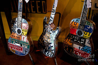 Poster featuring the photograph License Plate Guitars by Vinnie Oakes