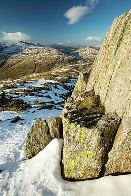 Lichen Covered Rocks On Great Carrs Poster