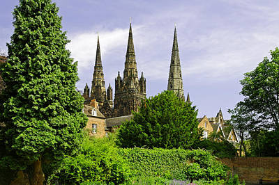 Lichfield Cathedral From The Garden Poster