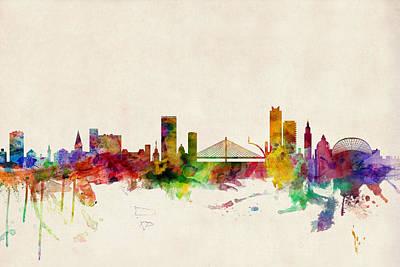 Liege Belgium Skyline Poster by Michael Tompsett