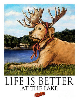 Life Is Better At The Lake Yellow Lab Poster