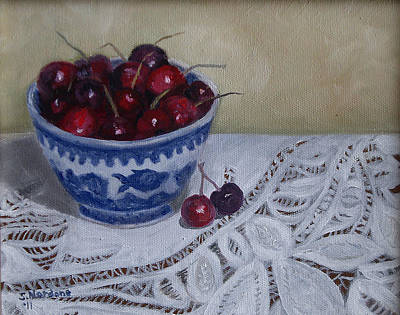 Poster featuring the painting Life Is Just A Bowl Of Cherries by Sandra Nardone