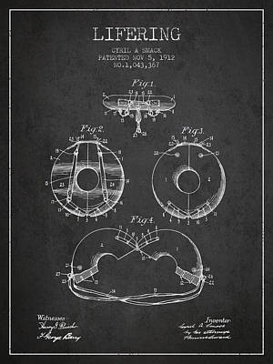 Life Ring Patent From 1912 - Charcoal Poster by Aged Pixel