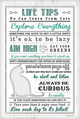 Life Tips - Cats Poster by Jennifer Pugh