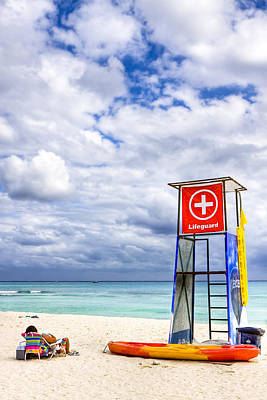 Lifeguard Stand On A Lazy Caribbean Beach Poster