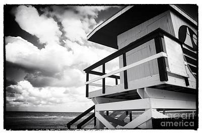 Lifeguard View On South Beach Poster by John Rizzuto