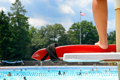 Lifeguard Watches Swimmers Poster by Amy Cicconi