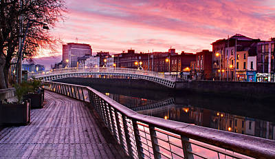 Poster featuring the photograph Liffey Boardwalk At Dawn - Dublin by Barry O Carroll