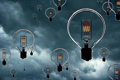 Light Bulbs In Stormy Sky Poster by Mark Sykes