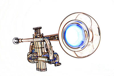 Light Color Drawing Of A Trumpet Bell Isolated 3018.06 Poster by M K  Miller