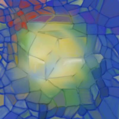Poster featuring the digital art Light Cubes Away by Constance Krejci