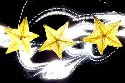 Light Painting On Star Fruit Slice Poster by Paul Ge