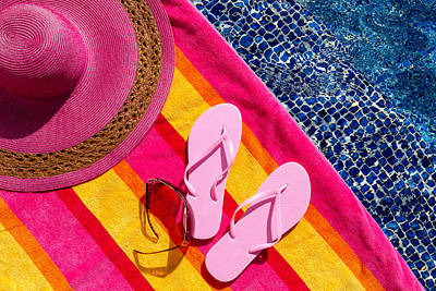 Light Pink Flip Flops By The Pool Poster by Teri Virbickis