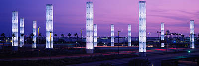 Light Sculptures Lit Up At Night, Lax Poster by Panoramic Images