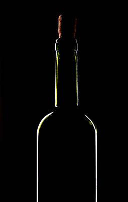 Light Silhouette Of Wine Bottle Poster by Roman Popov