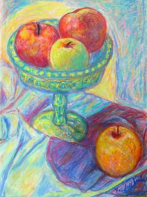 Light Swirl On Apples Poster by Kendall Kessler