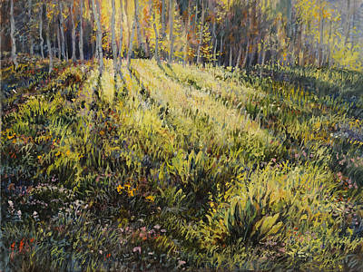 Poster featuring the painting Light Through The Aspens by Steve Spencer