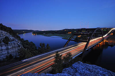 Light Trails At Pennybacker Bridge Poster by Kevin Pate