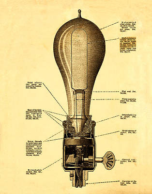 Lightbulb Patent Poster by Bill Cannon