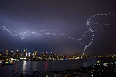 Lightening Over Manhattan Poster by Zina Zinchik