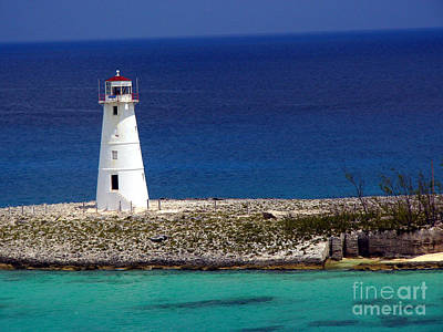 Lighthouse Along Coast Of Paradise Island Bahamas Poster by Amy Cicconi