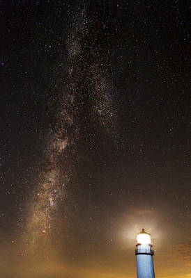 Lighthouse And Milky Way Poster