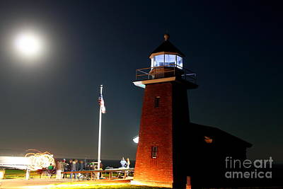 Poster featuring the photograph Lighthouse And The Full Moon by Theresa Ramos-DuVon