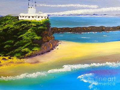 Poster featuring the painting Lighthouse At Nobbys Beach Newcastle Australia by Pamela  Meredith
