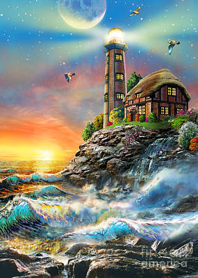 Lighthouse At Sunset Poster by Adrian Chesterman