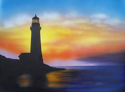 Poster featuring the painting Lighthouse At Sunset by Chris Fraser