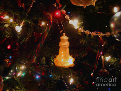 Poster featuring the photograph Lighthouse Christmas by Roxy Riou