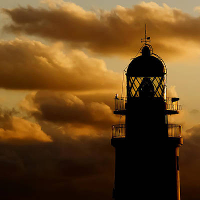 lighthouse dawn in the north coast of Menorca Poster