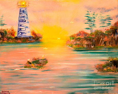 Poster featuring the painting Lighthouse For Mom by Denise Tomasura