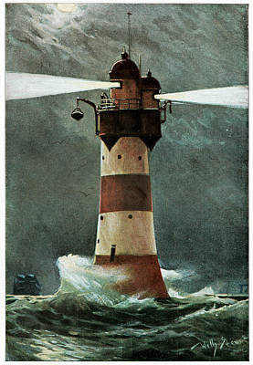Lighthouse In A Storm Poster