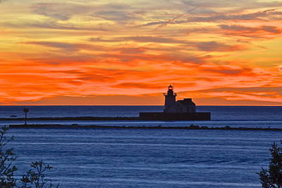 Lighthouse In Silhouette Poster by Frozen in Time Fine Art Photography
