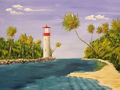 Lighthouse In The Tropics Poster by Mike Caitham