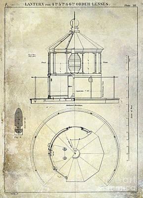 Lighthouse Lantern Order Blueprint Antique Poster