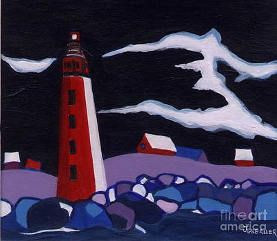 Poster featuring the painting Lighthouse Miniature by Joyce Gebauer