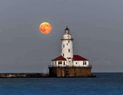 Lighthouse Moon Poster by John Harrison