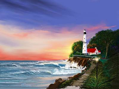 Lighthouse On The Cliff Poster by Anthony Fishburne