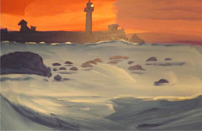 Lighthouse On The Rocks Poster by Don Koester