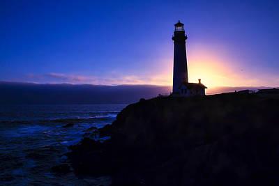 Lighthouse Setting Sun Poster