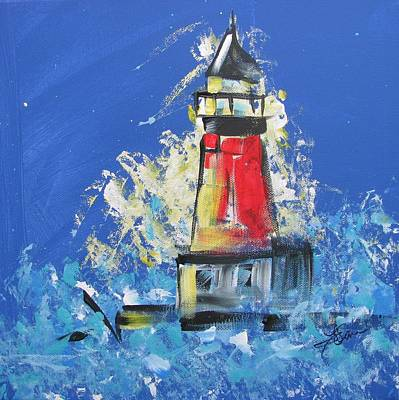 Lighthouse Splash Poster by Terri Einer